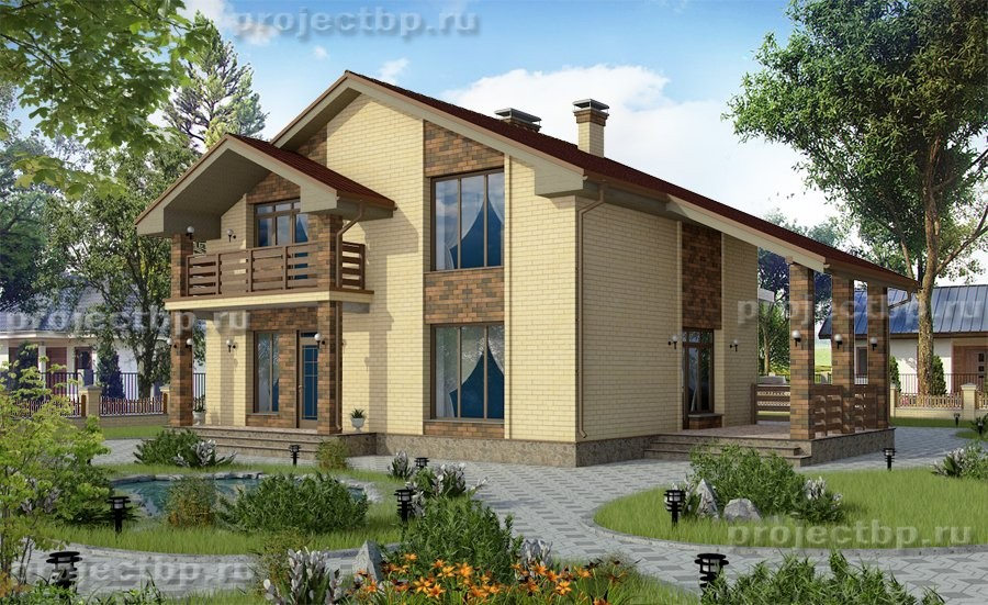 Проект дома в традиционном стиле из кирпича 134-B